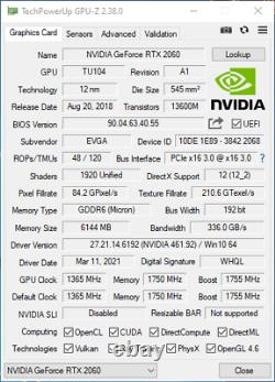 EVGA GeForce RTX 2060 KO ULTRA GAMING 6GB 6G 192-bit GDDR6 PCI-E 3.0 NVIDIA