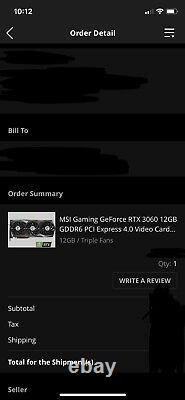 Msi gaming geforce rtx 3060 12gb gddr6 pci express video/graphics card