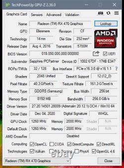 Sapphire Nitro+ Radeon RX 470 8G GDDR5 PCI-E DUAL HDMI/DVI-D/DUAL DP OC WithBP